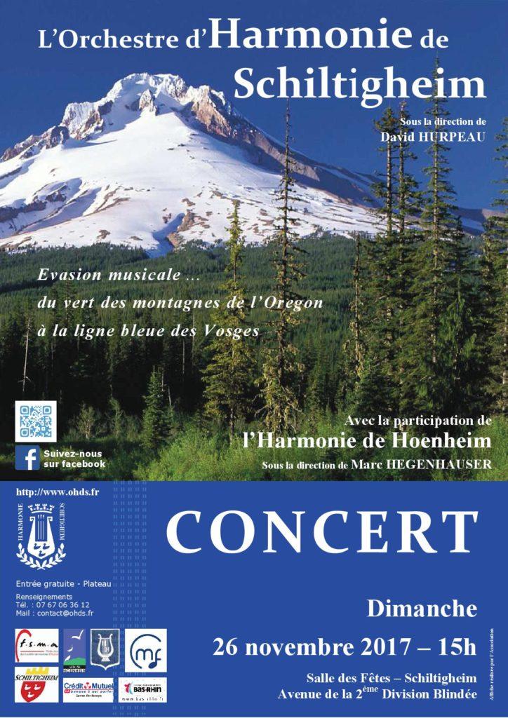 Affiche du concert du 26 novembre 2017 à la salle des Fêtes