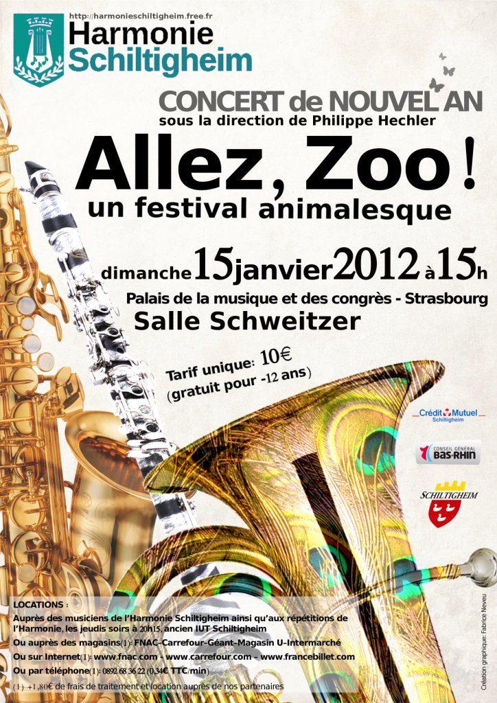 """Affiche du Concert de Nouvel An """"Allez, Zoo!"""" janvier 2012"""