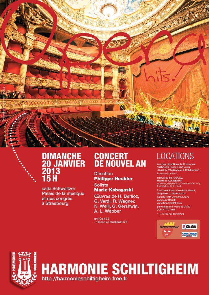 """Affiche du Concert de Nouvel An """"OPera Hits!"""" janvier 2013"""