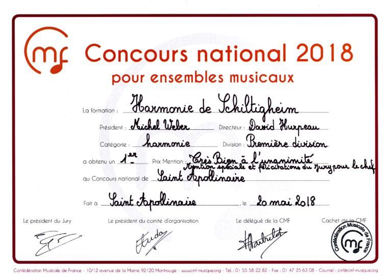 Image du certificat de notre participation au conccours de la CMF mai 2018