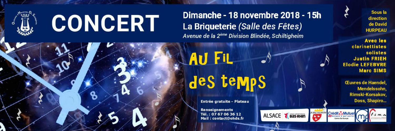 """Grand Concert d'Automne """"Au Fil des Temps"""" le 18 novembre 2018 à 15h à la Briqueterie"""